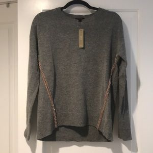 NWT J Crew Gray Sweater with Beaded Detail